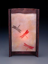 Rust Dragonfly Lamp (Tall) by Joan Bazaz (Glass & Copper Lamp)