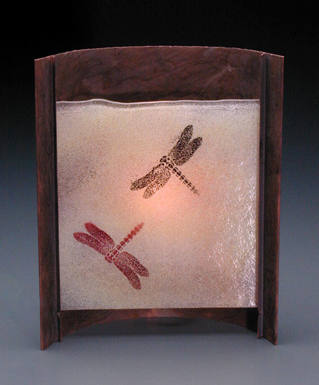 Rust Dragonfly Lamp (Short)