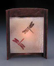 Rust Dragonfly Lamp (Short) by Joan Bazaz (Glass & Copper Lamp)