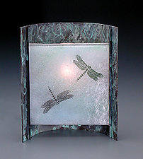 Blue Dragonfly Lamp by Joan Bazaz (Glass & Copper Lamp)