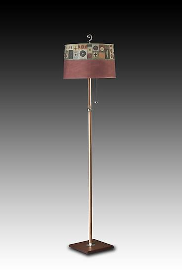 Copper Floor Lamp with Large Drum Shade in Lucky Mosaic Maroon