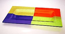 Quadro Tray (Orange, Blue, Green, Amber) by Renato Foti (Art Glass Tray)
