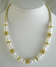 Pearl Frill Necklace by Samantha Freeman (Gold & Pearl Necklace)