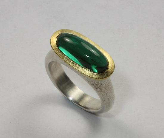 Pastille Ring with Green Quartz - Size 6 by Susan Barth (Gold, Silver & Stone Ring)