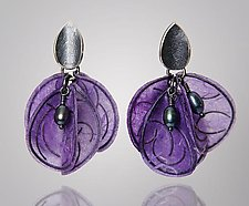 Purple Blossom Earrings by Carol Windsor (Silver, Pearl & Paper Earrings)