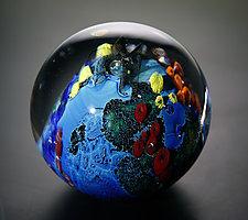 Inhabited Megaplanet, 4 inch by Josh Simpson (Art Glass Sculpture)