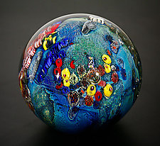 Inhabited Megaplanet, 5.25 inch by Josh Simpson (Art Glass Sculpture)