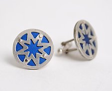 Superstar Cuff Links - Royal Blue by Gogo Borgerding (Silver & Aluminum Cuff Links)