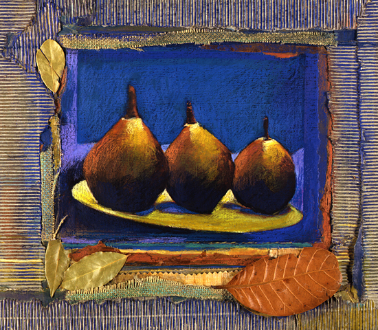 Three Pears with Leaves