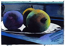 Three Apples Blue by Jane Sterrett (Giclee Print)