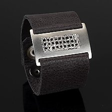 Slim Mesh Wrist Wrap by Karen Klinefelter (Silver & Leather Bracelet)