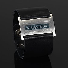 Water Wrist Wrap by Karen Klinefelter (Silver & Leather Bracelet)