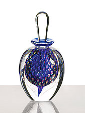 Peacock Perfume: Cobalt by David New-Small (Art Glass Perfume Bottle)