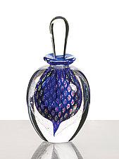 Peacock Perfume: Cobalt by David New-Small (Art Glass Perfume Bottle)