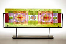 Horizontal Olive/Lavender Line Work by Lynn Latimer (Art Glass Sculpture)