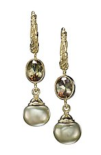 18k Hoop Earrings with Green Pearls and Andaluzites by Conni Mainne (Gold and Stone Earrings)