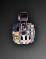 Small Square Shield Mosaic Pendant by Lynda Bahr (Gold, Silver & Stone Pendant)