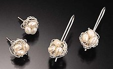 Crochet Earrings with Freshwater Pearls by Randi Chervitz (Silver & Pearl Earrings)