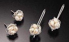 Crochet Earrings with Freshwater Pearls by Randi Chervitz (Silver & Pearl Earrings)