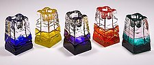 Obelisk Candlesticks by Joel and Candace  Bless (Art Glass Candleholders)