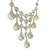 Swirl Bib Necklace by Ellen Himic (Gold, Silver & Stone Necklace)