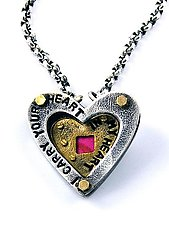 I Carry Your Heart Necklace by Beth Taylor (Silver, Brass & Tin Necklace)