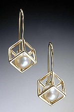 Cage Cubed Earrings by Patricia Madeja (Gold or Silver & Pearl Earrings)