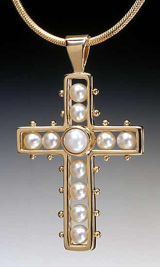 Cross Pendant by Patricia Madeja (Gold & Pearl Cross Pendant)