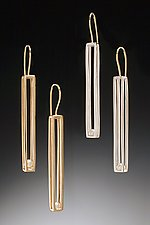 Long Cage Earrings by Patricia Madeja (Gold, Silver & Pearl Earrings)