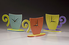 Cup and Saucer Clock by Emi Ozawa (Wooden Clock)