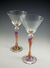 Martini Glasses by Mark Rosenbaum (Art Glass Goblets)