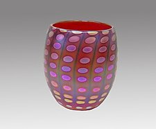 Opal Red Nutty Bowl by Thomas Philabaum (Art Glass Bowl)