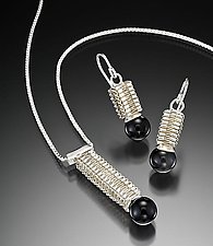Box Stitch Pendant & Earrings by Marie Scarpa (Silver & Stone Pendant)