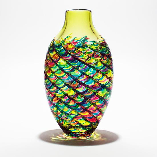 Tall Flat Optic Rib Vase Lime, Turquoise and Cranberry with Lime Neck