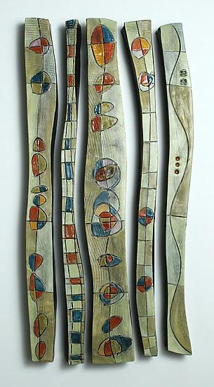 Abstract Time Relief Jewel Columns by Janine Sopp (Ceramic Wall Art)