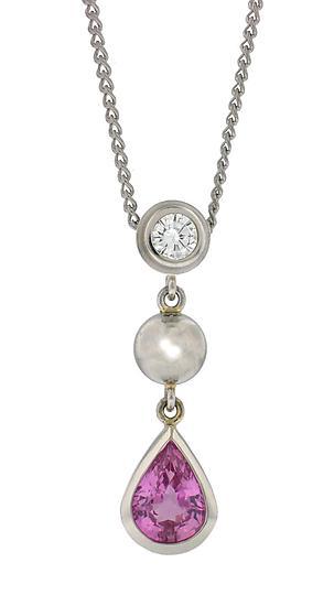 Series 8 - Platinum, Diamond and Pink Sapphire Pendant by Catherine Iskiw (Platinum & Stone Pendant)