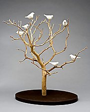Birds in Trees - Tabletop by Chris  Stiles (Ceramic & Wood Sculpture)