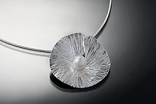Petite Floating Lily Necklace by Chi Cheng Lee (Silver & Pearl Necklace)