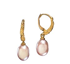 Rose Gold Pearl Hoop Earrings by Conni Mainne (Gold and Pearl Earrings)