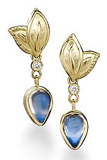 Blue Moonstone and Diamond Earrings by Conni Mainne (Gold and Stone Earrings)