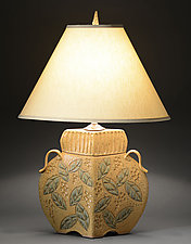 Arts and Crafts Lamp with Wide Leaf Carving by Jim and Shirl Parmentier (Ceramic Table Lamp)