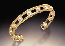 Gold Tambourine Cuff by Patricia Madeja (Gold & Pearl Cuff Bracelet)