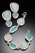Beach Glass Bracelet and Earrings by Amy Faust (Silver & Glass Bracelet & Earrings)