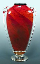 Red Shoulder Vase by Mark Rosenbaum (Art Glass Vase)