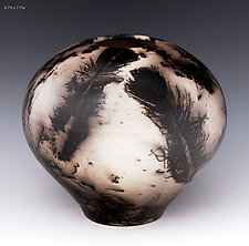Burnished Horse Hair Vessel 171 by Ron Mello (Ceramic Vessel)