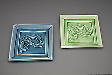 Large Flying Fish Plate in Green by Lynne Meade (Ceramic Plate)