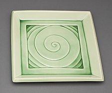 Celadon Green Spiral Plate by Lynne Meade (Ceramic Plate)