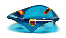 Small Triangle Stepping Stone Bowl: Steel Blue by Ed Edwards (Art Glass Bowl)