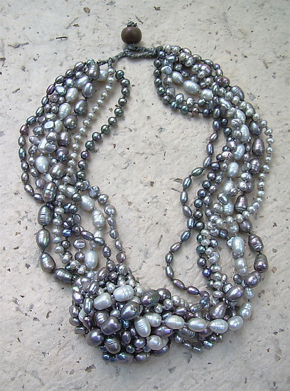 Platinum Multi Strand Necklace and Silver Baroque Pearl Earrings