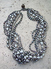 Platinum Multi Strand Necklace and Silver Baroque Pearl Earrings by Diana Lovett (Beaded Jewelry)